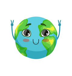 funny earth planet character showing victory sign vector image