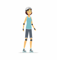 girl on roller skates - cartoon people character vector image