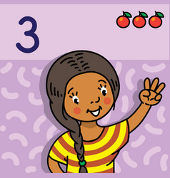 girl showing three by hand counting education card vector image