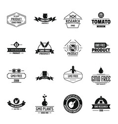 gmo food logo icons set simple style vector image