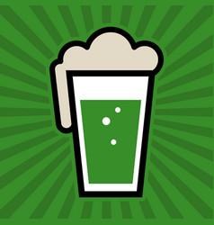 Green irish beer pint glass icon vector