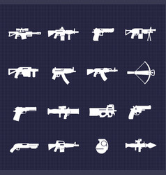 Guns and weapons icons set vector