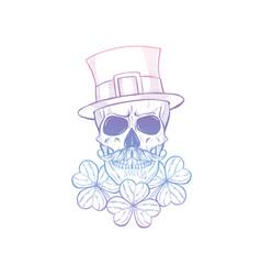 Hand drawn angry skull leprechaun vector