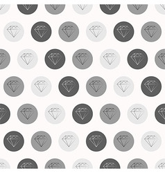 Hand Drawn Diamonds with Circles Seamless Pattern vector image