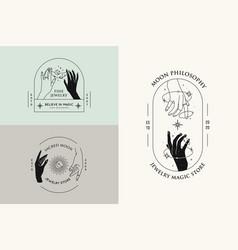 hand gestures set logo design templates vector image