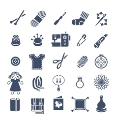 Handmade hobby activities flat silhouettes icons vector