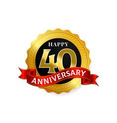 happy 40 years anniversary golden badge logo with vector image