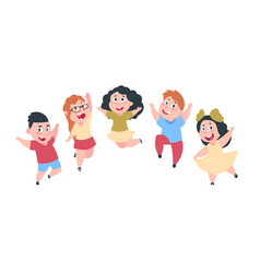 Happy cartoon kids cute boy and girl children vector