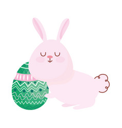 happy easter cute rabbit with egg decoration vector image