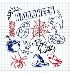 Happy halloween icons set vector
