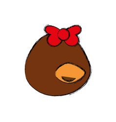 head little duckling cartoon faceless vector image