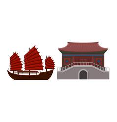 Hong kong travel symbols with junk as sailing ship vector