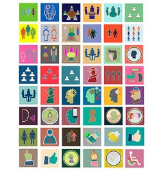 Icons flat set conference Design elements for vector