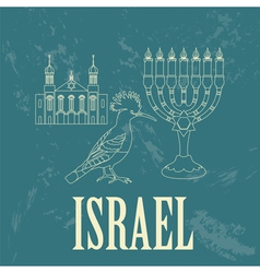 Israel landmarks Retro styled image vector