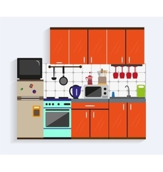 Kitchen interior with furniture in flat style vector image