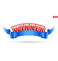 Label with winner word and ribbon vector