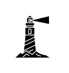 Lighthouse on shore black icon sign on vector