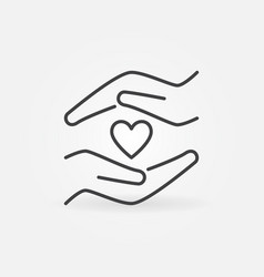 little heart and hands line icon charity vector image