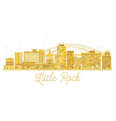 Little rock city skyline golden silhouette vector
