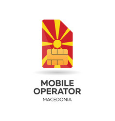 macedonia mobile operator sim card with flag vector image