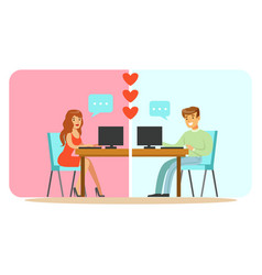 Man and woman chatting on their computers colorful vector