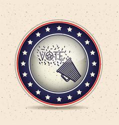 Megaphone inside button of vote concept vector