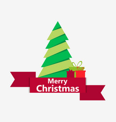 merry christmas paper christmas tree with ribbon vector image