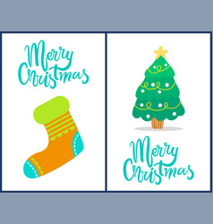 merry christmas sock and tree vector image