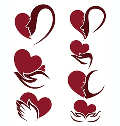 people and hearts vector image