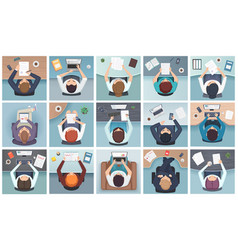 People top view business characters sitting vector