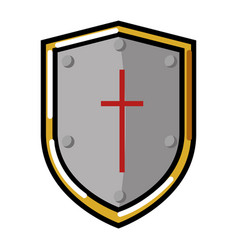 Pixelated shield game icon vector