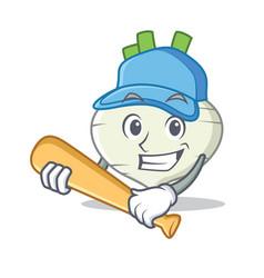 Playing baseball turnip character cartoon style vector