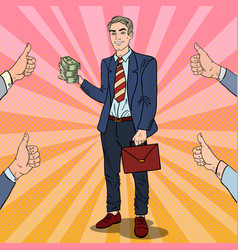 pop art successful businessman with stack of money vector image
