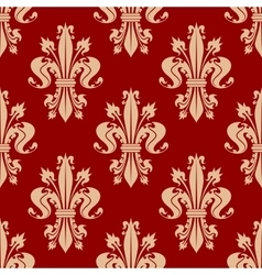 Red seamless fleur-de-lis pattern of royal lilies vector
