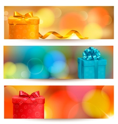 retro holiday background with blue gift ribbon vector image