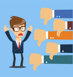 sad businessman and many hands with thumbs down vector image