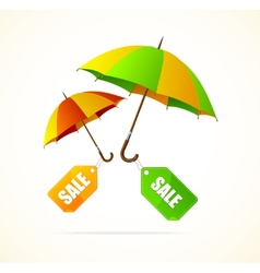 Sale labels with umbrellas spring vector