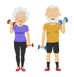 Senior people couple with dumbbells smiling vector