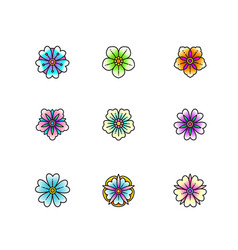 set classic tattoo style flowers vector image