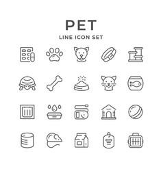 set line icons pet vector image