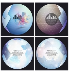 Set of 4 music album cover templates Abstract vector image
