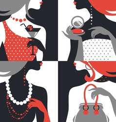 Set of beautiful fashion woman silhouettes vector