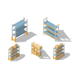 set storage racks with boxes and pallets vector image