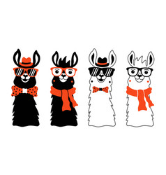 set with llamas in sunglasses red scarf bow vector image