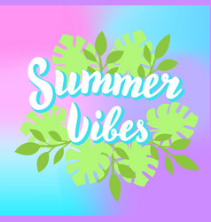 summer vibes lettering with tropical leaves and vector image