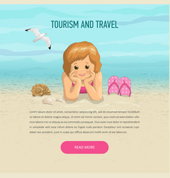 Template girl of vacation on beach vector