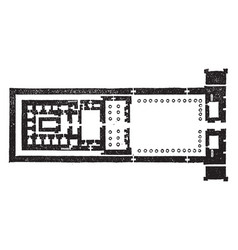 temple of edfu group plan is a ground plan vector image