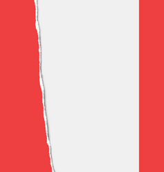 torn from top to bottom vertical sheet red a4 vector image