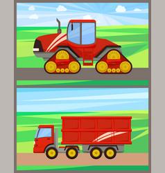 Tractor and grain truck set vector