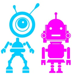 Two cute robots girl and guy vector